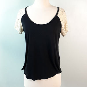 Denim & Supply Black and Lace Raw Hem Tee Size XS